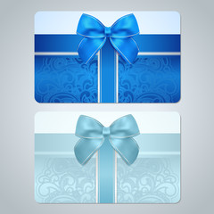 Gift card, discount card, coupon. Blue floral pattern, bow