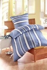 Bettwäsche blau gestreift