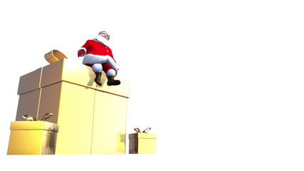 Santa sits on top of a giant Golden present loopbale.