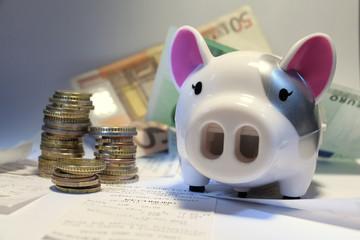 sparschwein mit euroscheinen und euromünzen