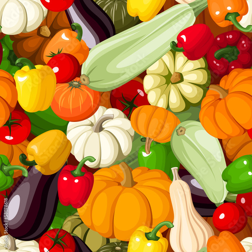 Seamless background with various vegetables. Vector illustration