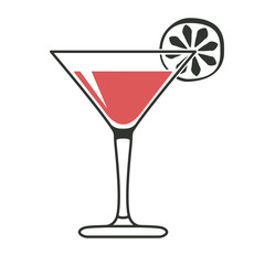 Cocktail glass with lime slice