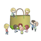 Kids around green bag.