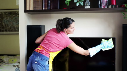 woman wiping up the tv