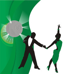 green background with dancing couple
