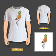 Kid holding fruit printed on shirt.
