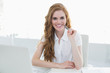 Portrait of beautiful businesswoman with laptop