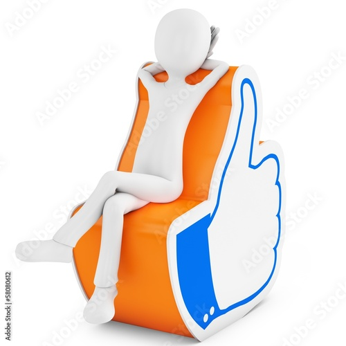 3d man with thumb up like hand symbol