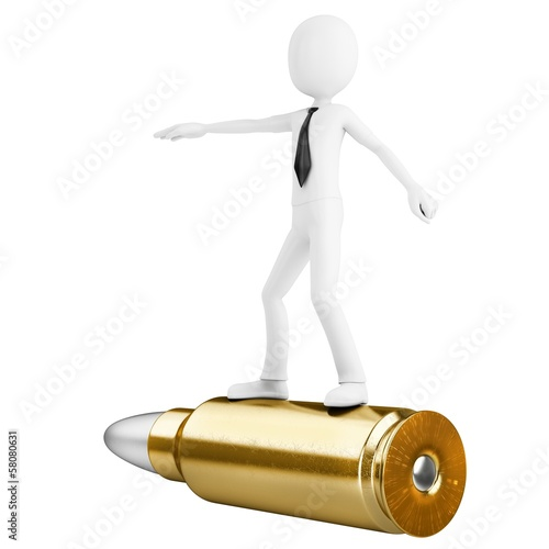 3d man riding a golden bullet