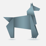 Abstract horse, paper origami