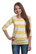 Stehende Frau mit sehr langen Haaren