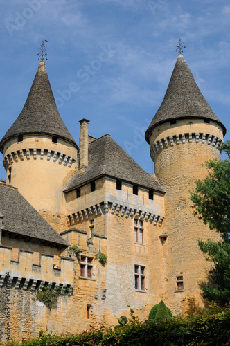 France, picturesque castle of Puymartin in Dordogne