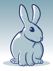 Gray Sitting Rabbit Mascot Illustration