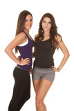 Two women fitness face standing
