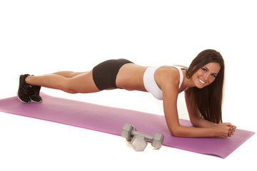 Woman white top fitness low plank