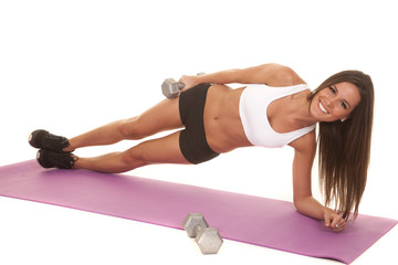 Woman white top fitness side plank weight