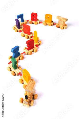 Wooden train with numbers