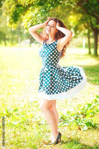 Beautiful pinup woman outdoor