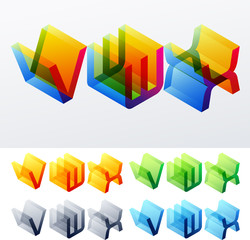 Colored isometric text. Cube monospace characters. V W X