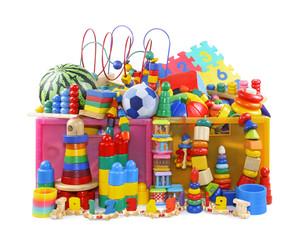 Box with very many toys