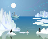 Northern landscape with icebergs and penguins