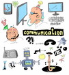 doodle concept of communication, hand drawn background