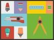 stationery flat icon sets