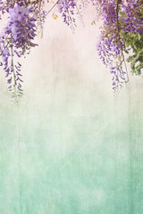 Grungy background with floral border