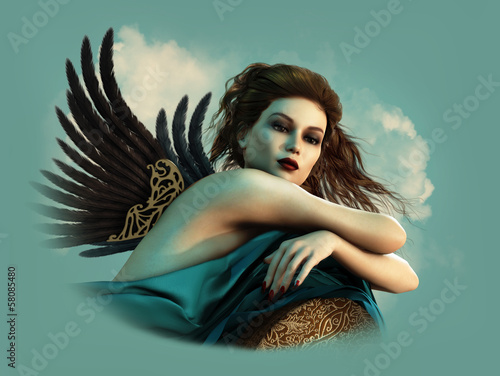 Angel with dark Wings 3d CG