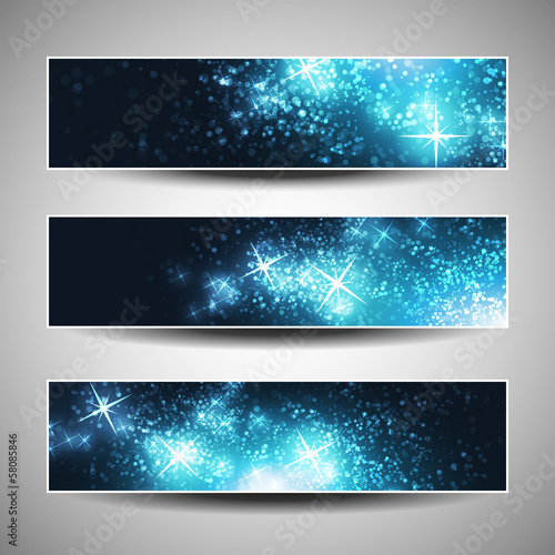 Set of horizontal Christmas or New Years Banners
