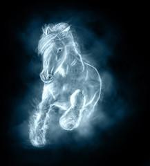 wild stallion running on clouds