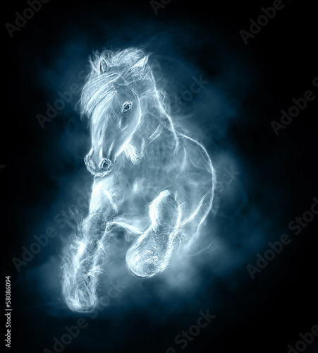 wild stallion running on clouds