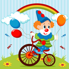 clown on bike - vector illustration