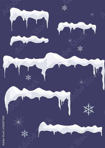 Ice-sheet with icicles, stars and snowflakes. Snow top.