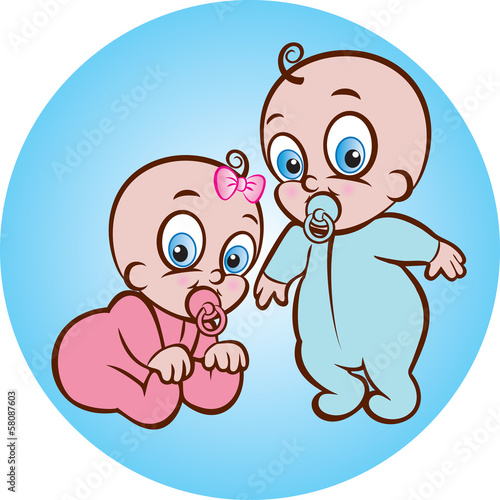 Vector illustration of cute baby boy and girl in diaper
