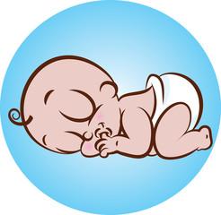 Vector illustration of cute sleeping baby in diaper