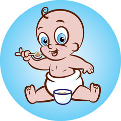 Vector illustration of cute baby in diaper