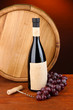 Composition of corkscrew and bottle of wine, grape, wooden