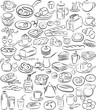 vector illustration of breakfast items collection