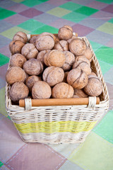 walnuts in a wicker basket