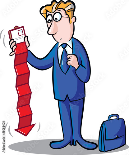 Businessman holding wallet including red chart arrow