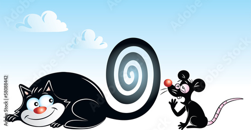 vector illustration of black cat hypnotizing black mouse