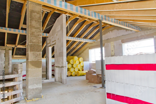 Dachgeschoss eines Rohbaus