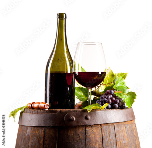 Wine on keg, isolated on white background