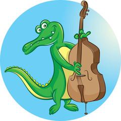 Crocodile mascot playing double bass
