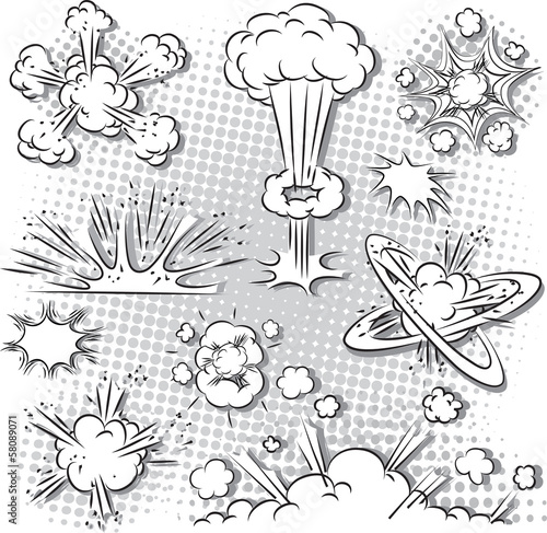 Vector illustration of comic style explosion set