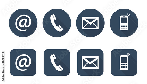 Contact Us - set of web flat icons, buttons, two variants