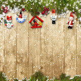 Christmas background with a border of fir branches&decorations