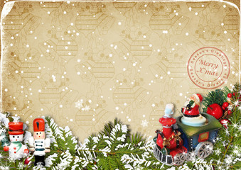 Merry Christmas.Card with vintage Christmas decorations