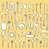 vector illustration of kitchen utensil collection